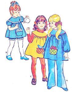 1970s Girls Yoked Dress Yoked Smock Top Bloomers by paneenjerez, $8.00