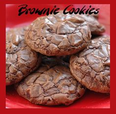 Brownie Cookies- They have the chocolaty flavor and chewy center like a brownie and the shape and outside texture of a cookie. They also get that wonderful flaky texture on the outside like on the top of a brownie. I made mine without nuts, but these would be excellent with any of your favorite nuts. However you make them, I suggest washing them down with a big glass of milk!