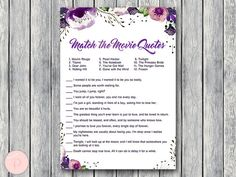 Purple Movie Matching Game, Famous Love Quote Movie Game, Coed Bridal shower game, Bridal shower activity, Printable Game WD83 TH43 #babyshowerideas4u #birthdayparty #babyshowerdecorations #bridalshower #bridalshowerideas #babyshowergames #bridalshowergame #bridalshowerfavors #bridalshowercakes #babyshowerfavors #babyshowercakes