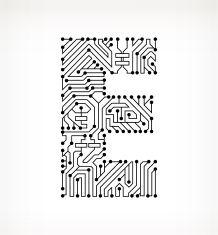 Letter E Circuit Board on White Background vector art illustration