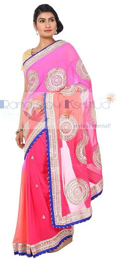 Beautiful shaded Saree with kachi Patti gota work.