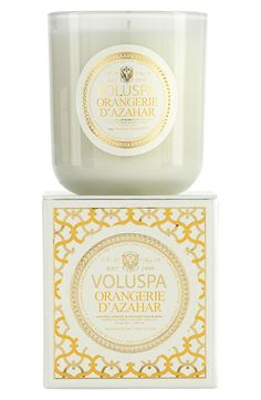 Maison Blanc candles by Voluspa exudes the luxe sophistication that loyal fans have come to expect from Voluspa featuring new fragrances that are at once unique and familiar. Voluspa Candles, Scented Candles, Whatsoever Things Are Lovely, Candle Box, Candle Holders, Luxury Candles, Nordstrom, Perfume, Orange Blossom