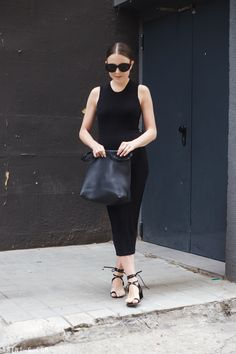The Row x Linda Farrow sunglasses (get them HERE) | Acne Studios dress (get it HERE) | Céline toe ring sandals (similar HERE) | The Row bag (get it HERE)