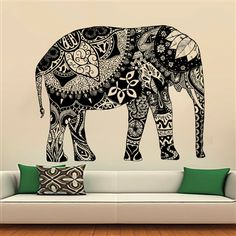 Wall Decals Indian Elephant Floral Patterns Mandala by CozyDecal