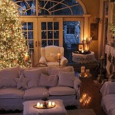 This will be my living room in my dream home! Cozy Christmas, Beautiful Christmas, Christmas Lounge, Christmas Tables, White Christmas, Christmas Lights, Christmas Classics, Christmas Breakfast, Christmas Scenes