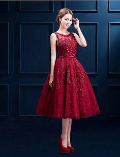 Sukienka - Cocktail Party - Burgundia -Line Szufelka Tea-długość Zasznurować 2016 – $99.99