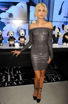 Hailey Baldwin pouted in a glitzy dress at the Snoopy and Belle in Fashion presentation http://dailym.ai/1ttfoSo #NYFW