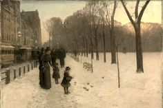 Childe Hassam: 'Boston Common at Twilight', 1885–86, Oil on canvas. Museum of Fine Arts, Boston.