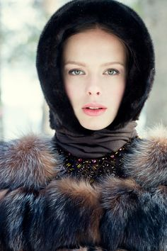 Russian girls. Russian beauty. Fur, winter fashion, fur hat. Russian style by Anna Bakhareva