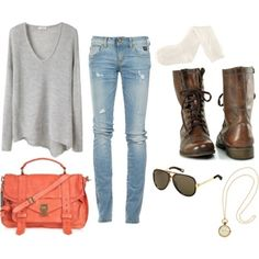 Cute Outfit For Fall ~ Love The Boots! I Wanna Try Wearing This Looks Kick Ass :p - Click for More...