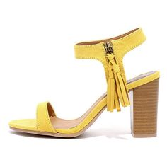 Tassel Time Yellow Suede High Heel Sandals ($29) ❤ liked on Polyvore featuring shoes, sandals, yellow, yellow shoes, strappy sandals, zipper sandals, strap sandals and heeled sandals
