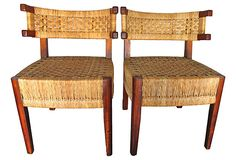 """Woven Midcentury Klismos Chairs, Pair on OneKingsLane.com described by MODERNHAUS Pair of unique midcentury rosewood and woven slipper chairs. Sculptural demilune backs and frames contrast beautifully with intricately woven cord. Seat, 17.75""""H."""