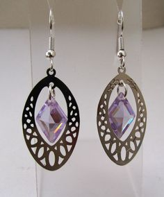 Lavender Cubic Zirconia Earrings by MoYuenCreations on Etsy, $12.00