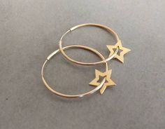 Gold Hoop Earrings, Star Earrings, Gold Star Earrings, hoop earrings, gold hoops, gold earrings, Tiny Stars Earrings, Gold Filled Hoops - Sale! Up to 75% OFF! Shot at Stylizio for women's and men's designer handbags, luxury sunglasses, watches, jewelry, purses, wallets, clothes, underwear
