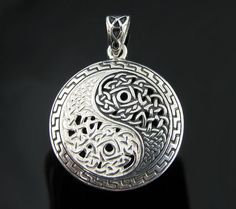 Genuine .925 Sterling Silver Celtic Knot Weave Yin Yang Pendant