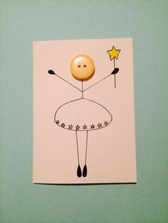 Button angel card by HattiesHomeCreations on Etsy
