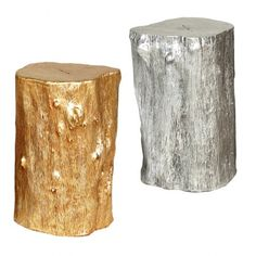 Gold and Silver Leaf Log Stools - Available at TheFuturePerfect.com