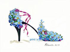 Ne me n'oubliez pas fleur chaussure Print 2011 - renforcée avec de la peinture aquarelle et signé Brownlee - Wall Art navires gratuit