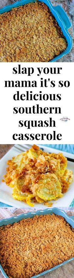 Feb 2020 - Slap Your Mama it's So Delicious Southern Squash Casserole - y'all this easy squash casserole might be my favorite cheesy squash casserole ever! It's one of those southern classic recipes that you should probably put on your menu. Easy Squash Casserole, Southern Squash Casserole, Casserole Dishes, Veggie Casserole, Side Dish Recipes, Vegetable Recipes, Good Food, Yummy Food, Tasty