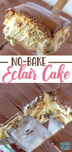 No-Bake Eclair Cake is a dessert that is layers of flavor: graham crackers, instant vanilla pudding, whipped topping and topped with chocolate frosting! recipes dessert sweet treats graham crackers No-Bake Eclair Cake 13 Desserts, Quick Dessert Recipes, Easy Cake Recipes, Baking Recipes, Cookie Recipes, Delicious Desserts, Lemon Desserts, Lemon Recipes, Healthy Recipes