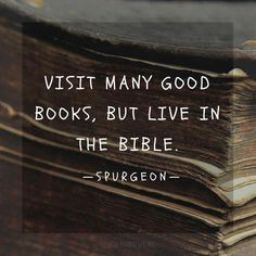 "Spurgeon Quote - ""Visit many books but live in the Bible."" Okay, as both a Christian and a book worm, I love this! Quotes Thoughts, Life Quotes Love, Great Quotes, Quotes To Live By, Inspirational Quotes, Awesome Quotes, Cool Words, Wise Words, Charles Spurgeon Quotes"