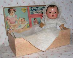 "All Original 1930s Effanbee Dy-Dee-ette 11"" with Original Layette BOX"