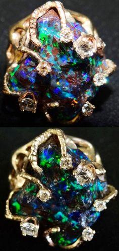 A Liberace Favorite: 75 Carats Of Diamond, 14k Gold Fiery Opal And Diamond Ring.
