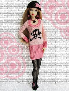 This combines 3 of my favorite things! Pink, Skulls & Barbie!