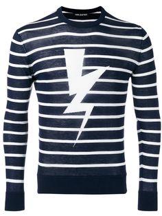NEIL BARRETT Striped Lightning Print Sweater. #neilbarrett #cloth #sweater