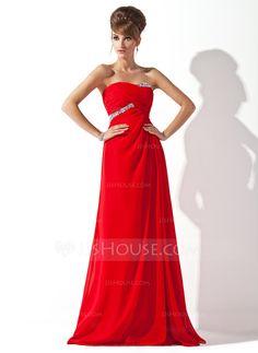 A-Line/Princess Sweetheart Floor-Length Chiffon Evening Dress With Ruffle Beading (017013788)