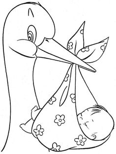 The Stork and Baby. Baby Embroidery, Hand Embroidery Patterns, Embroidery Designs, Quilt Baby, Coloring Book Pages, Digital Stamps, Baby Cards, Colorful Pictures, Painted Rocks
