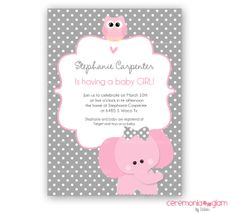 Baby shower girl elephant and owl pink and grey by ceremoniaGlam, $9.50