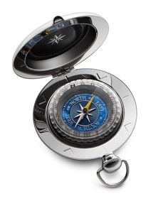 The Voyager Compass is perhaps the best-known of all Dalvey compasses.  It's unique pull-pommel catch, tactile shape, and iconic design make it a classic of the range.  This compass features an exceptionally fine-detailed dial combining stunning, iridescent blue mother-of-pearl with intricate texturing and mirror-polished detailing in the compass rose and increments. #dalvey, #compass, #gift