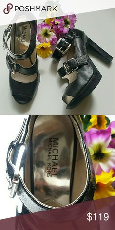 Michael Kors Peep Toe Mary Jane Heels Like new, worn once or twice, Michael Kors Mary Jane like peep toe sandle with silver buckles. Excellent condition. Size 8 Style these with jeans, leggings, skirt, or dress, along with your favorite Michael Kors bag. Shoes Heels