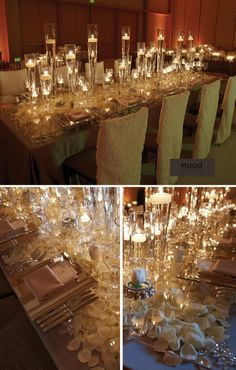 Love the mirrored glass with candles
