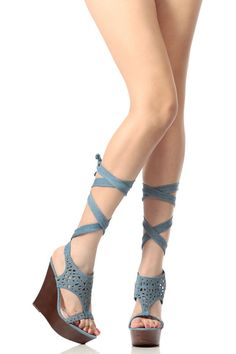 597f7294465 Denim Wrap Around Wooden Wedges