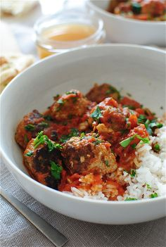 Indian Turkey Meatballs over Rice