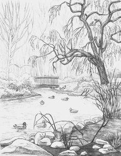 | Landscape Pencil Drawings, Simple Landscape Drawing, Landscape Sketch, Landscape Designs, Beautiful Pencil Sketches, Pencil Sketches Simple, Flower Sketch Pencil, River Drawing, Duck Drawing