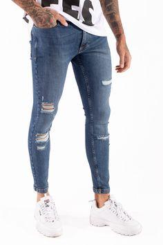 11 Degrees Essential Super Stretch Distressed Jeans Skinny Fit - Mid B Ripped Denim, Distressed Skinny Jeans, Denim Jeans, Popular Jeans, Mens Fashion, Fashion Outfits, Nike, Skinny Fit, Stretch Denim