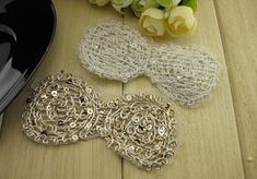 3 Sequin Lace Bow Appliques Hair Accessory by inthepinkroom