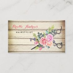 Charming Barn Wood Scissors and Roses Hairstylist Business Card Salon Business Cards, Hairstylist Business Cards, Business Hair, Hair Salon Names, Small Cafe Design, Referral Cards, Beauty Salon Interior, Stained Concrete, Standard Business Card Size