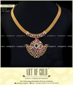abdca7c21e7 A designer Fusion Necklace with a colourful stone set Pendent and a mesh  chain with muted