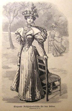 1890s fashion plate. I think this would be very pretty in a green striped fabric.