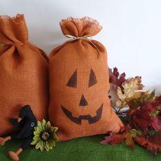 Fall decor large burlap bag pumpkin pillow sack by RaggedyRee