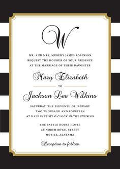 Black and Gold Stripe Wedding Invitation by StudioACP on Etsy Anniversary Invitations, Gold Wedding Invitations, Wedding Paper, Wedding Stationery, Invites, Wedding Wishes, Our Wedding, Wedding Ideas, Stripe Wedding