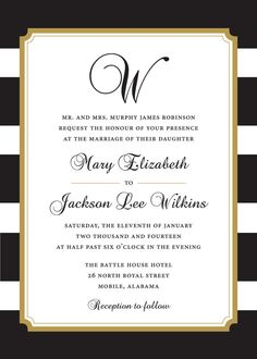 Black and Gold Stripe Wedding Invitation by StudioACP on Etsy, $9.00