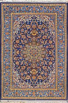 "Buy Esfahan Persian Rug 3' 6"" x 5' 5"", Authentic Esfahan Handmade Rug"