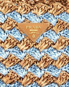 Prada Bi-Color Crocheted Raffia Tote