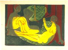 Three Nudes in the Forest by Ernst Ludwig Kirchner Size: 35.5x49.7 cm