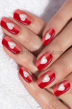 Valentine nail art - maybe off set instead of centered?